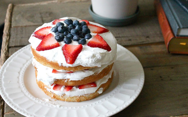 Vanilla Cake with Fresh Whipped Cream