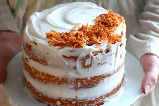Vanilla Cake with Coconut Whipped Cream